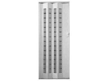 Plastové shrnovací dveře PLATINUM, prosklené - bílý dub