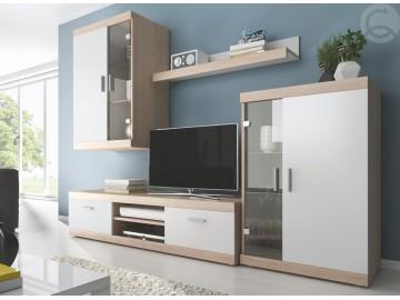 Obývací stěna DUO sonoma/bílá