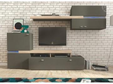 Obývací stěna JET grafit/sonoma