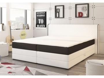 Postel s matrací a ÚP DETROIT 180x200cm (PUR - bílá/černá)