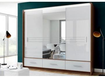 Šatní skříň AMSTERDAM 250L se zrcadlem bílá