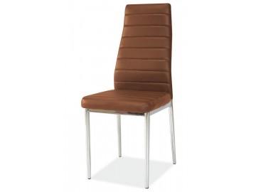 Jídelní čalouněná židle HRON-261 hnědá/chróm