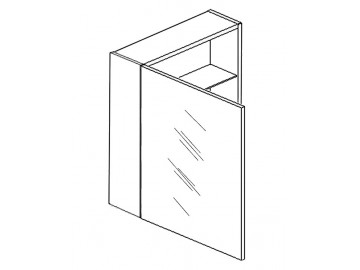 Skříňka W50 se zrcadlem levá bílá