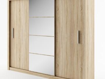 Šatní skříň IDEA dub sonoma zrcadlo 250 cm