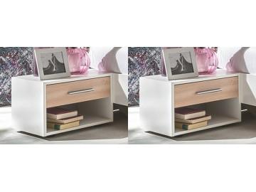 Noční stolek ( 2 ks ) ILONA 698 bílá/buk