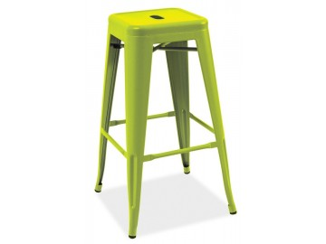 Barová kovová židle LONG zelená