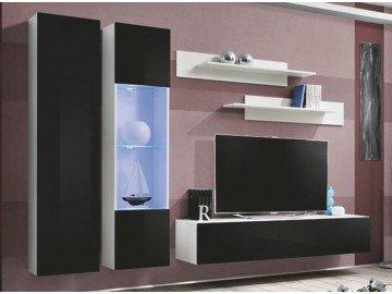 Obývací stěna X-FINITY bílá/černý lesk