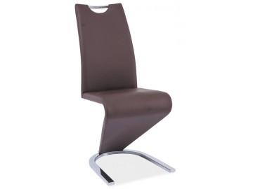 Jídelní čalouněná židle H-090 hnědá/chrom