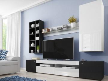 Obývací stěna TRE černá/bílý lesk