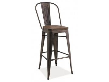 Barová kovová židle LOFT H-1 grafit/tm.ořech