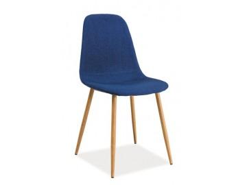 Jídelní čalouněná židle FOX modrá/dub