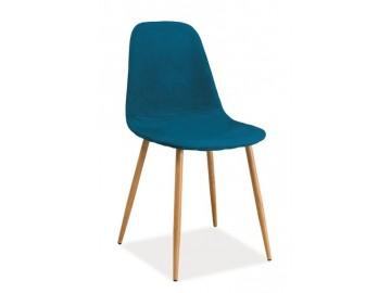 Jídelní čalouněná židle FOX modrozelená/dub