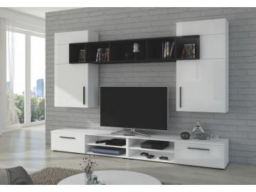 Obývací stěna BELLI bílý lesk/černá