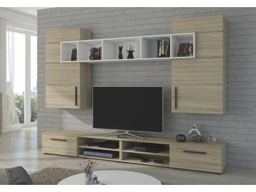 Obývací stěna BELLI dub sonoma/bílá