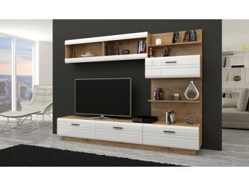 Obývací stěna AXAL lefkas/bílý lesk