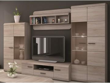 Obývací stěna LINK son (vitrína V a N, TV stolek 140, police)