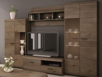 Obývací stěna LENA (vitrína V a N, TV stolek 120, police)