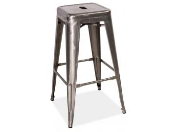 Barová kovová židle LONG ocel kartáčovaná