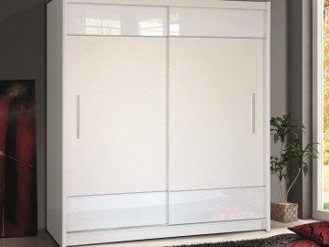 Šatní skříň TOKYO 6 bílé sklo