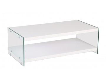 Konferenční stolek BIBIONE-771 bílá/sklo