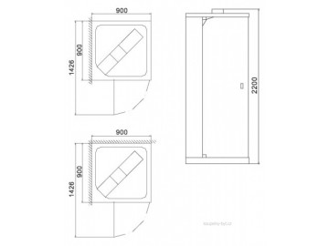 Parní box MAFRA - 90x90 cm
