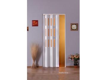 Shrnovací dveře KIT LUCIANA, 3 řady skel, č.01 - bílé