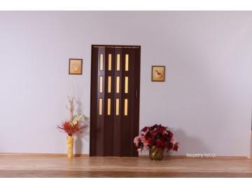 Shrnovací dveře KIT LUCIANA, 3 řady skel, č.04 - hnědé