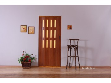 Lamela LUCIANA na shrnovací dveře, 3 řady skel, č.10 - mahagon