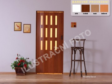 Lamela LUCIANA na shrnovací dveře, 3 řady skel, č.05 - teak