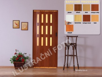 Shrnovací dveře KIT LUCIANA, 3 řady skel, č.10 - mahagon