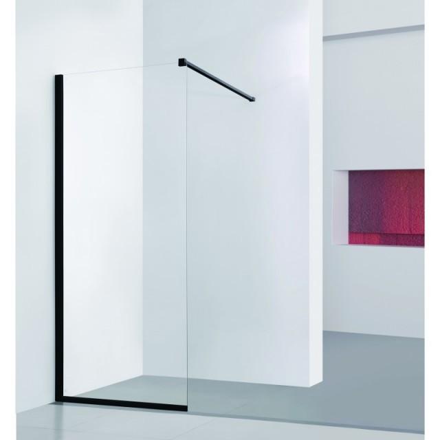 Walk-in sprchový kout LAGOS BLACK - 120 × 195 (v) cm, Hliník - černá barva