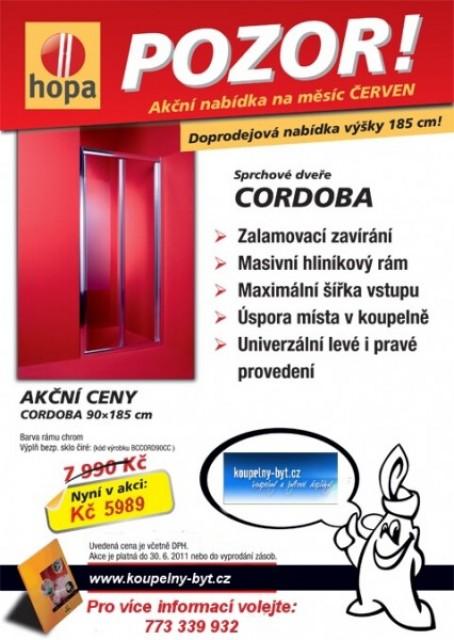 Pozor Akce - Zalamovací sprchové dveře Cordoba 90 cm - sleva 25%