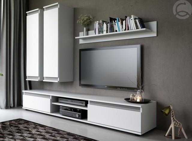 Jednoduchá obývací stěna CHECO v bílém provedení