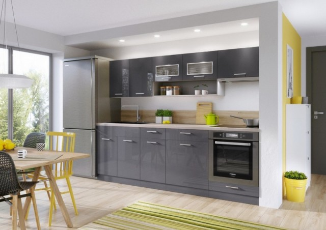 Lákavá cena a moderní provedení v lesklé antracitové barvě, kuchyně MORENO LUX Vás jednoduše okouzlí!