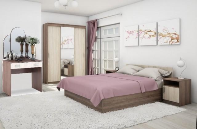 Moderní a jednoduchá ložnicová sestava BASIA II - obsahuje postel, deskový rošt, šatní skříň a toaletní stolek se zrcadlem