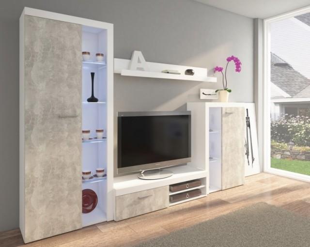 Obývací stěna RUMBA v novém dekoru, který kombinuje chladný beton a matnou bílou barvu, nyní za velmi lákavou cenu!