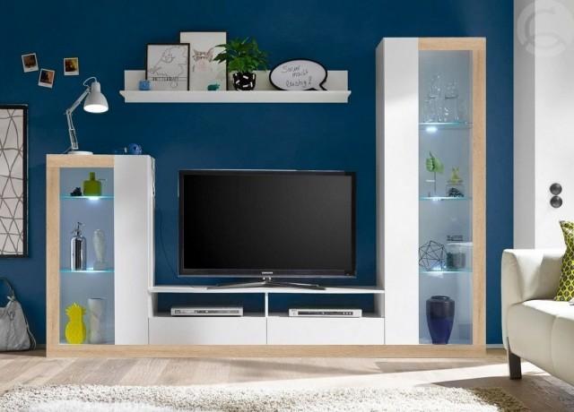 Moderní obývací stěna MALIBU v barvě bílá/sonoma