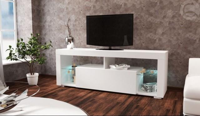 Televizní stolek VEGAS bílá/bílý lesk