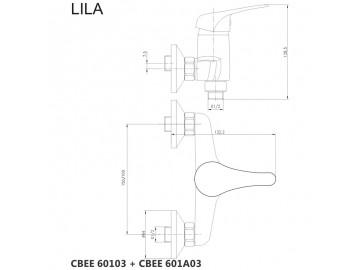 Nástěnná baterie do byt. jádra, Lila, 100 mm, s ramínkem ? 18 mm - 330 mm, bez přísluš.