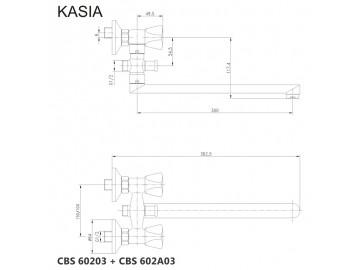 Nástěnná baterie do byt. jádra, Kasia, 150 mm, s ramínkem 300 mm, bez příslušenství, chrom