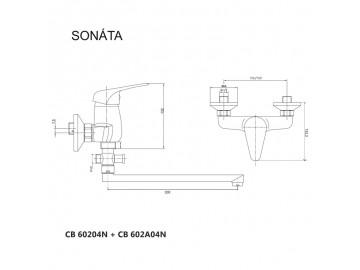 Nástěnná baterie do byt. jádra, Sonáta, 100 mm, s plochým ramínkem 300 mm, bez příslušentví, chrom
